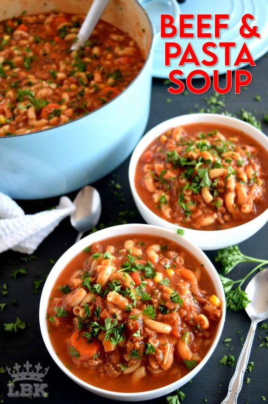 A soup that's a complete meal!  Beef and Pasta Tomato Soup covers all the bases in terms of being a well-balanced meal.  It's delicious, hearty, mom/dad-approved, and kid-friendly too! #beef #tomato #pasta #soup #heartysoup #familyrecipes