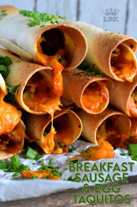 Great for guests or a quiet Saturday morning breakfast with your family. All of the prep can be done ahead of time too!  These sausage and egg filled taquitos are perfectly spicy and cheesy! #breakfast #taquitos #breakfastsausage #brunch