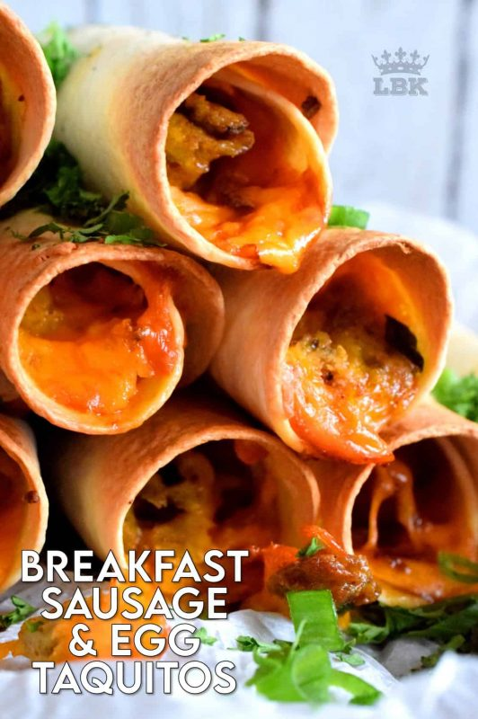 Great for guests or a quiet Saturday morning breakfast with your family. All of the prep can be done ahead of time too! These sausage and egg filled taquitos are perfectly crispy and cheesy! Use ground sausage meat or a whole sausage! #breakfast #taquitos #breakfastsausage #brunch