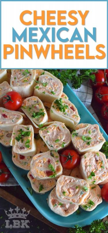 Is it a meal or is it an appetizer?  I guess that all depends on how many of these you eat!  Cheesy Mexican Pinwheels are easy to assemble, has lots of cheese, sour cream, and salsa too!  Make them mild or be bold and up the heat factor! #mexican #pinwheels #appetizers #partyfood #rollups