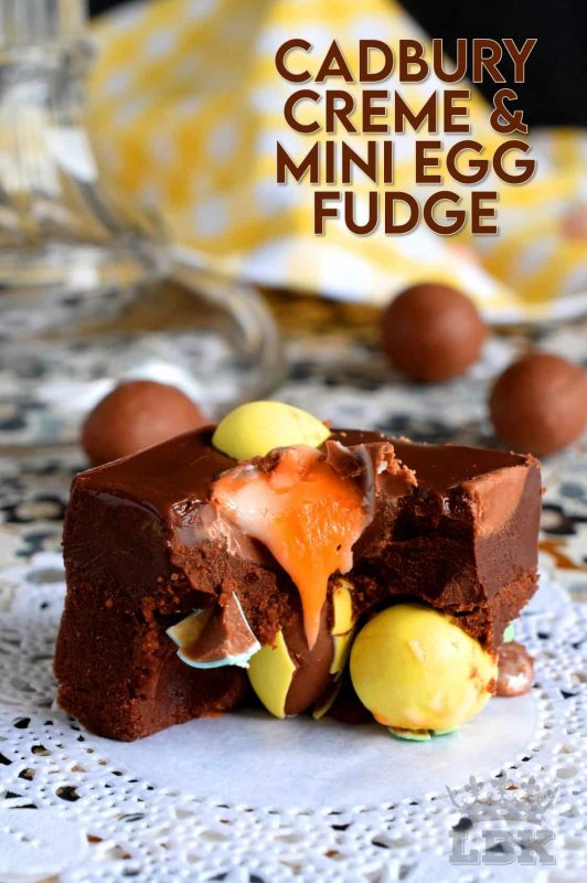 Cadbury Creme and Mini Egg Fudge is a dense chocolate fudge loaded with both creme eggs and mini eggs.  It's an easy and perfect Easter chocolate indulgence. Try eating just one piece; I dare you! #fudge #easter #easterchocolate #cadbury #cremeeggs