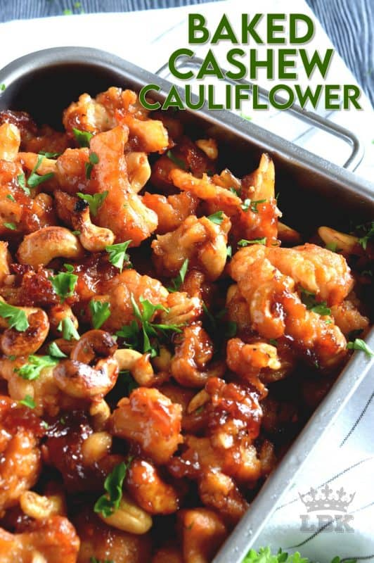 Cashew Cauliflower is the vegetarian equivalent of the classic Chinese buffet favourite, Cashew Chicken. The same great flavour as your favourite Chinese take out, but in vegetarian format.  Yum! #cauliflower #cashewcauliflower #bakedcauliflower #vegetarian #chinesetakeout