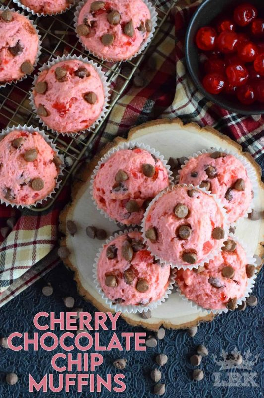 Prepared with a basic muffin recipe, these delicious, pretty pink muffins comes to life with chocolate chips and candied red cherries! #valentines #muffins #cherry #chocolate