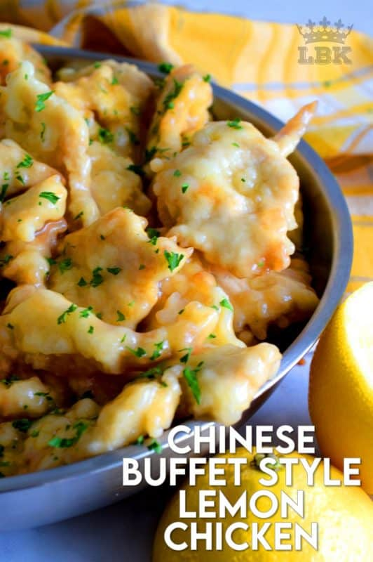 A make-at-home version of the classic buffet-style fried chicken in a thick, gooey lemon sauce!  Chinese Buffet Style Lemon Chicken is everything you need to make dinner extra special. #lemon #chicken #lemonchicken #buffetstyle #chinesefood #copycatrecipe