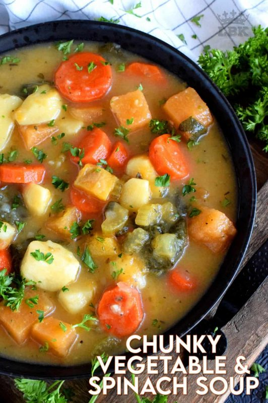 Hearty meals, like this Chunky Vegetable and Spinach Soup, are heart-healthy and filling.  This is cold-weather soup, so serve it with thick slices of crusty bread! #soup #vegetablesoup #vegetariansoup #spinach #rootveggies #chunky
