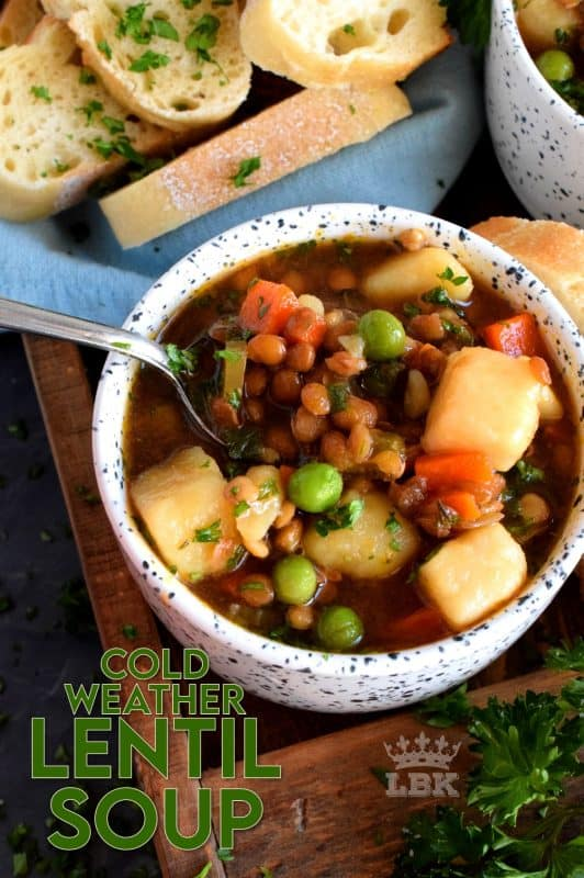 Finally a bowl of lentil soup with a nice thin broth, yet one that's hearty and filling enough to fight the cold weather chills! #soup #cold #weather #vegetarian #lentil #broth