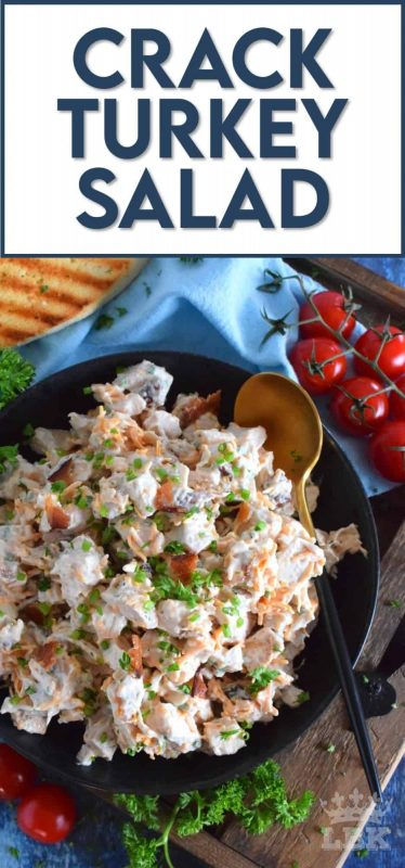 Piled high on a sandwich, or scooped up with your favourite snacking crackers, this is a recipe you won't be able to get enough of!  This salad is called Crack Turkey Salad for a reason! #leftoverturkey #turkey #turkeysalad #cracksalad #crack