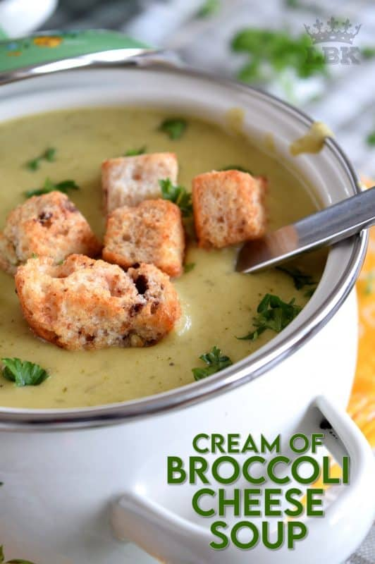 The creamiest, cheesiest, most satisfying Cream of Broccoli Cheese Soup that you will ever find!  This recipe uses the broccoli stalks too - no waste! #broccoli #creamofbroccoli #broccolisoup #creamsoups