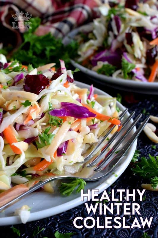 Did you know a coleslaw could be turned into a healthy and hearty meal?  With my Easy Healthy Winter Coleslaw recipe, you'll see just what I'm talking about! #coleslaw #salad #wintersalad