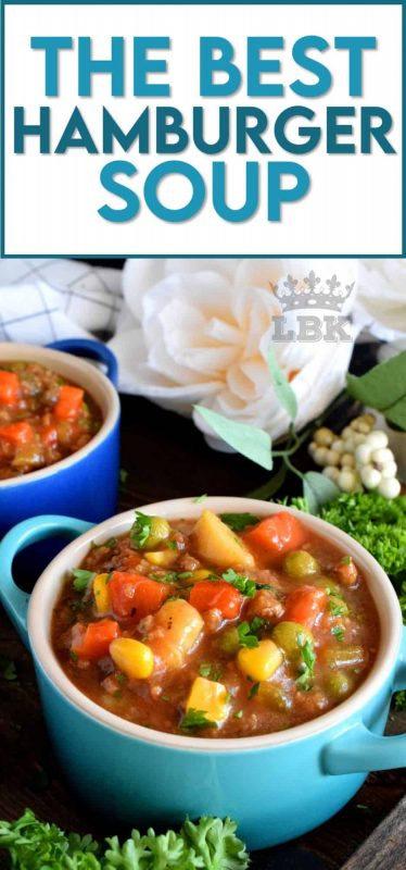 Hamburger Soup is thick and chunky and uses absolutely no fillers. This soup is all beef and all vegetables; it's also family and budget friendly! #hamburger #ground #beef #soup #stew #family #recipes