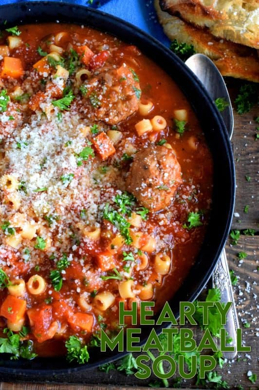 Hearty Meatball Soup is a soup that tastes like a big bowl of homemade pasta and meatballs, but more comforting and warming! #soup #stew #pasta #meatballs #homemade
