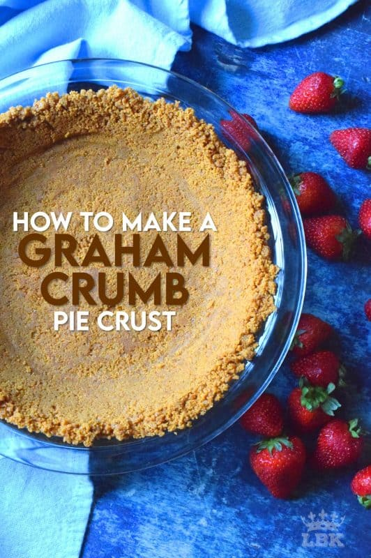 Sure, you can buy these pre-made, but they're never as good as homemade!  Also, I have a secret ingredient that will make your Graham Crumb Pie Crust so much better than store-bought.  Read on to learn how! #grahamcrumbs #grahamcrumbpiecrust #piecrust #pieshell #grahamwaftercrumbs #howtomake #diy