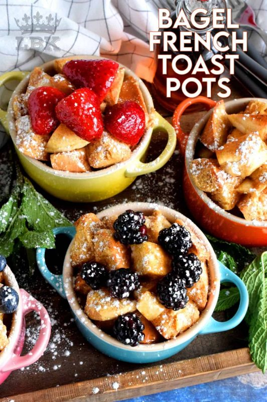 Individual Baked Bagel French Toast Pots are a classic, family style dish, which has been elevated to something special and unique. Try using bagels instead of bread for a whole new level of texture! #frenchtoast #bagels #frenchtoastbagels #breakfast #brunch #lecreuset