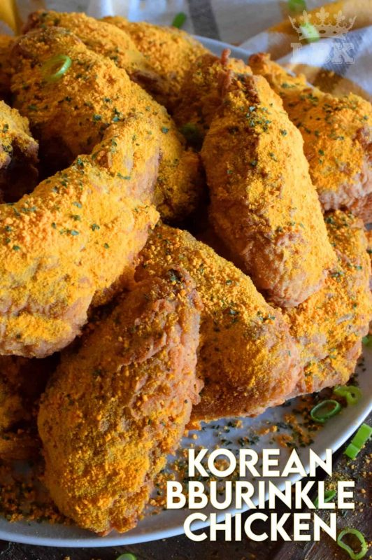 A popular mukbang favourite among many foodie YouTubers, Korean Bburinkle Chicken is a crispy fried chicken with a cheesy, onion, and garlic coating.  This chicken is completely addictive and perfect when served with a sweet dipping sauce. #korean #bburinkle #chicken #mukbang #asmr #homemade #bhc