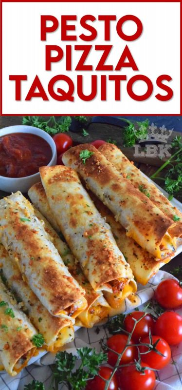 Prepared with homemade sun dried tomato pesto and lots of melted, gooey cheese, Pesto Pizza Taquitos are baked in the oven with a garlic and parmesan topping. Sounds irresistible, right? #taquitos #vegetarian #pesto #pizza #sundriedtomato