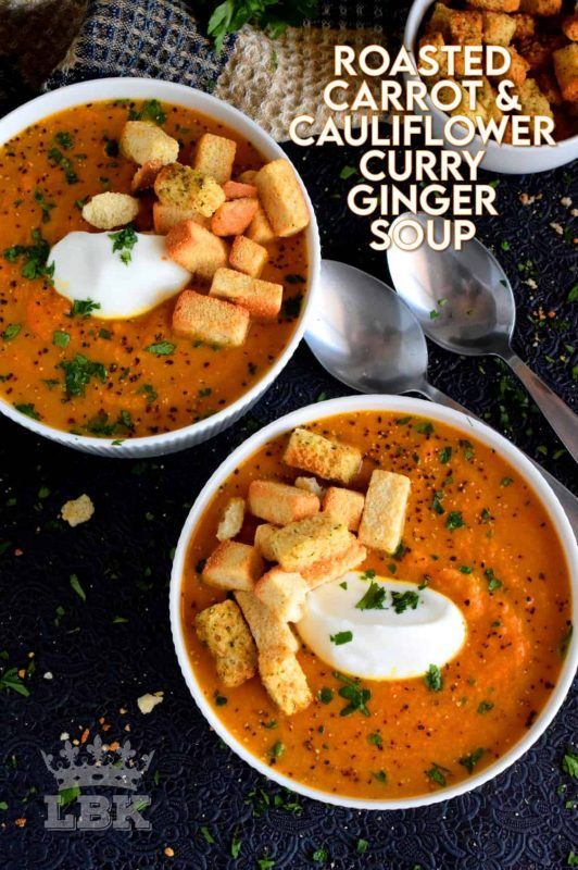 Warm and comforting, Roasted Carrot and Cauliflower Curry Ginger Soup is thick and creamy without the addition of dairy. #cauliflower #curry #roasted #soup #soupson