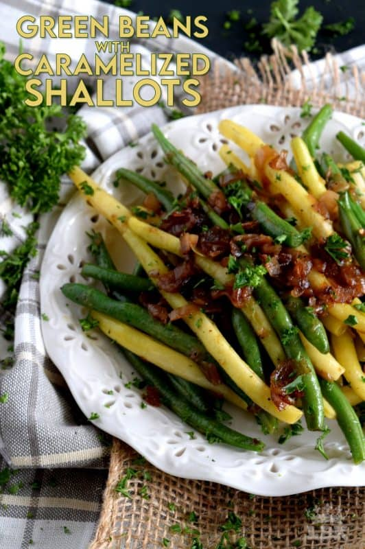 Beautifully and deliciously simple, Sautéed Green Beans with Caramelized Shallots, is a fresh, light, and easy side dish alternative to the popular green bean casserole - no need for heavy creamed soup additives here! #greenbeans #sidedish #vegetables #thanksgiving #vegetarian