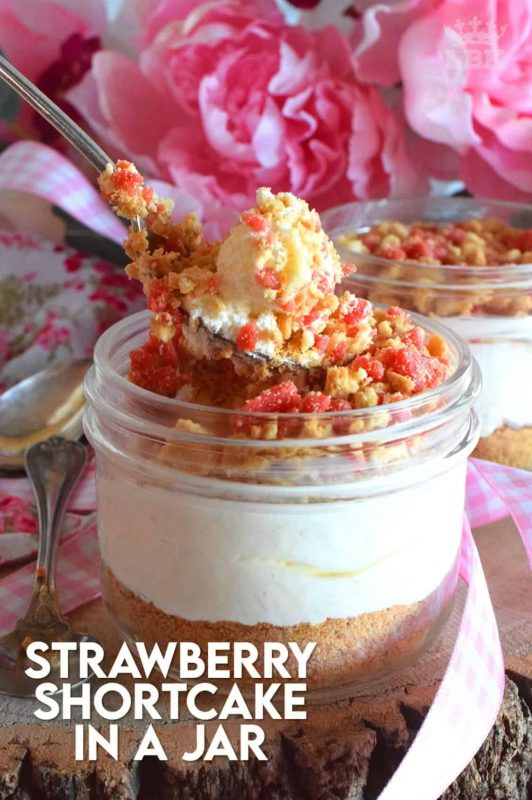 Remember those pink and white ice cream bars with the crumb coating?  If you loved those, then you're already a fan of Shelby's Strawberry Shortcake.  Prepared in a jar or as a pie, this is a simple to prepare dessert that will have your guests begging for more! #strawberryshortcake #shortcake #strawberry #pie #nobake
