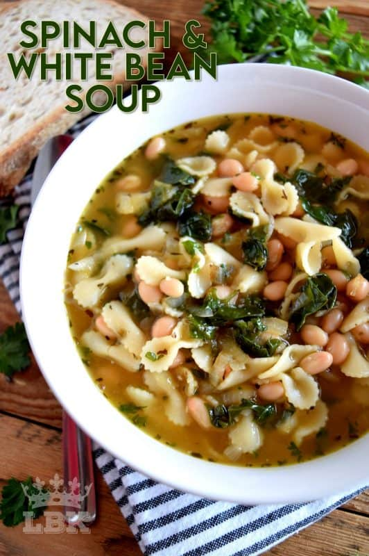 Delicious, hearty, and full of nutritious ingredients – Spinach and White Bean Soup is good for you and has just the right balance of vegetables, protein, and carbohydrates.  A well rounded, feel-good, dinner for all! #soup #beansoup #spinach #vegetarian #vegetariansoup #meatlessmonday