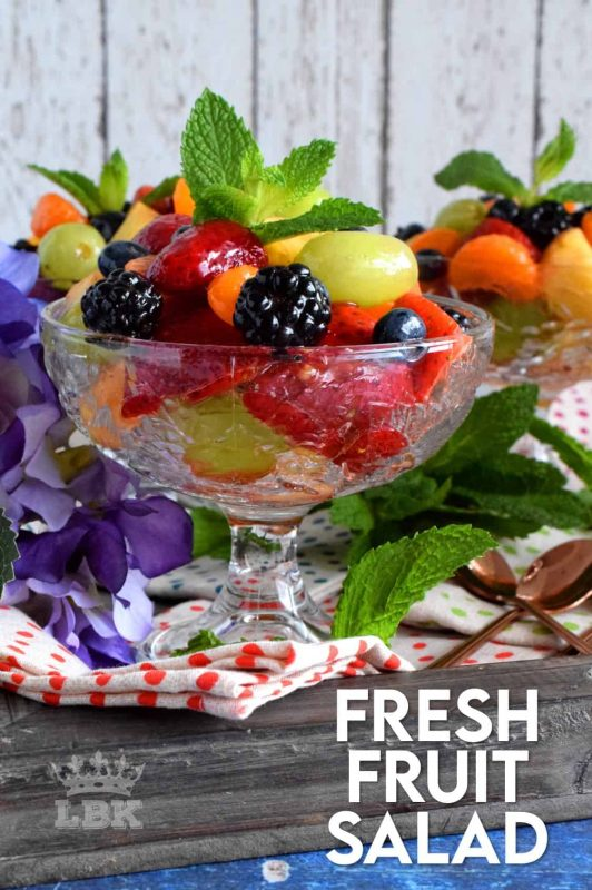 A Fresh Fruit Salad is always best when comprised of fruit that is currently in season, but there are certainly no die-hard rules; after all, rules were made to be broken! #fruitsalad #fruitbowl #choppedfruit #glazedfruitsalad #summerfruit
