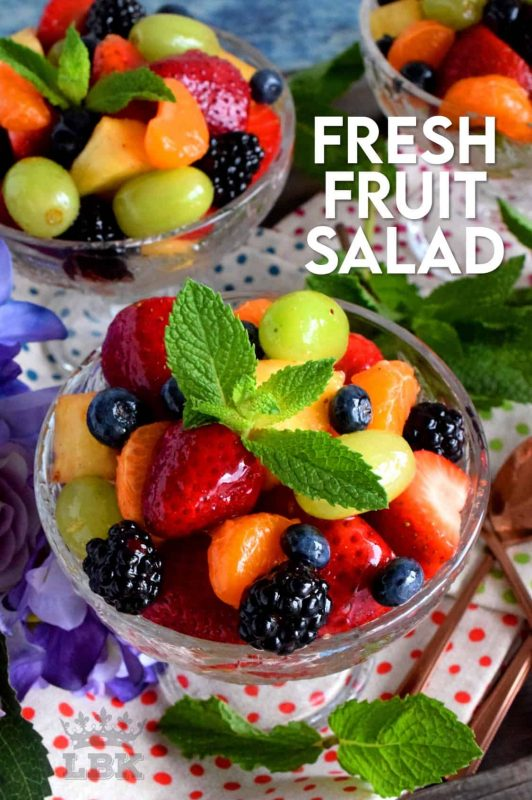 Fresh Fruit Salad is always best when comprised of fruit that is currently in season, but there are certainly no die-hard rules; after all, rules were made to be broken! Use a sugar-free jelly to give your fruit that glossy, shiny look!! #fruitsalad #fruitbowl #choppedfruit #glazedfruitsalad #summerfruit