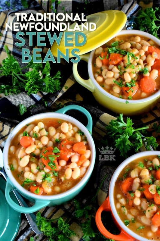 A soup that's worthy of the name stew; meatless and delicious, Traditional Newfoundland Stewed Beans transforms rustic, homey ingredients into a hearty and wholesome meal! #stewedbeans #newfoundland #newfierecipes #stew #soup #newfoundlandrecipes