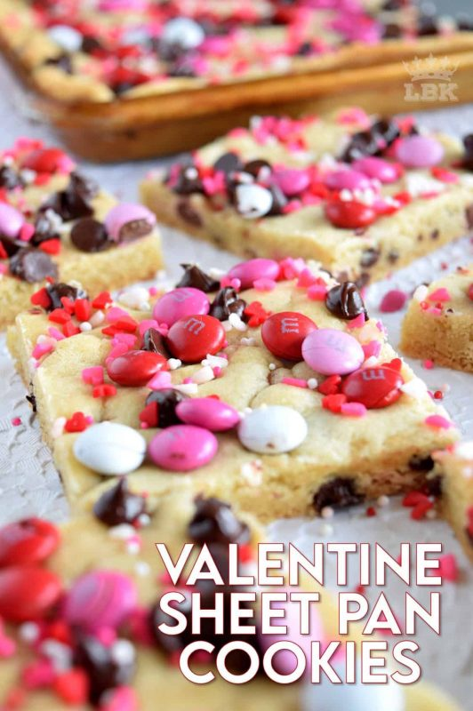 All the fun in half the time! Valentine Chocolate M&M Sheet Pan Cookies are a mix and bake cookie recipe - no rolling into balls and no baking in batches! #valentinebaking #valentinecookies #valentinetreats #pinkrecipes #sheetpanrecipes