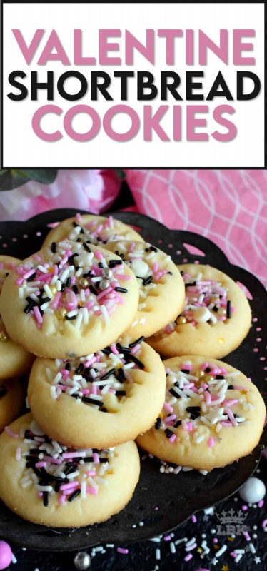Valentine Shortbread Cookies are not only delicious, but fast and easy too, so that you can have more time to spend with your special valentine! #valentinecookies #valentinetreats #valentinesrecipes #pinkfood #pinkcookies