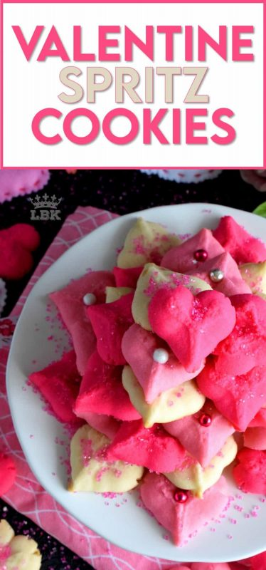 Valentine Spritz Cookies are bright, cheerful, and will bring a smile to anyone's face.  These are so easy to make and so delicious too!  Break out your sprinkles and have some fun!! #valentinebaking #valentinecookies #pinkrecipes #spritzcookies #cookies #valentinetreats