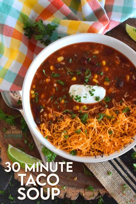 With the help of taco seasoning, canned beans and corn, and some leftover rice, 30 Minute Taco Soup comes together quickly and easily. Make it even better by topping it with cheese, and sour cream!  #taco #soup #vegan #vegetable #vegetarian #canned #pantry
