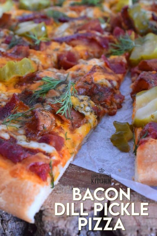 If you love a strong dill presence, you are going to devour this Bacon Dill Pickle Pizza! Prepared with a dill flavoured crust, and topped with fresh dill and dill pickles, this pizza is a dill lovers dream and then some! #dillpickle #bacon #pizza #homemadepizza #dillpicklepizza