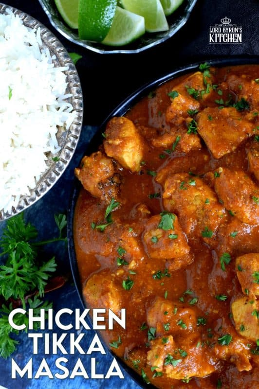 Tender chicken breast pieces, marinated in yogurt and spices, and simmered in a thick, luscious curry sauce.  Why go out for Indian food when you can make Chicken Tikka Masala at home?  Going out is so last year, anyway! #chicken #tikkamasala #indianchicken #indianathome #marinade #indianfood #indianrecipes
