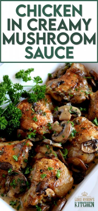 Pan-seared chicken thighs, nestled in a thick, creamy mushroom sauce, and flavoured with aromatic thyme. Chicken in Creamy Mushroom Sauce is sure to be a family favourite!   #bakedchicken #mushrooms #creamofmushroom #mushroomsauce #chickeninsauce