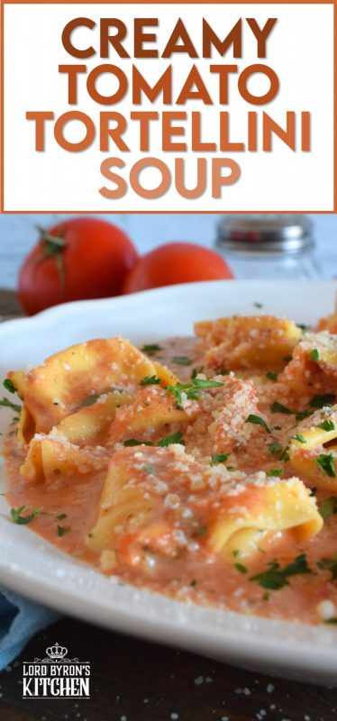 A quick and easy, hearty and cozy dinner, prepared with ready-made ingredients. Creamy Tomato Tortellini Soup is made with canned tomato soup, frozen pasta, and cream cheese. It is the ultimate cold-weather, family-friendly meal! #creamy #tortellini #tomatosoup #soupwithpasta #creamcheese #familyrecipes #meatlessmonday