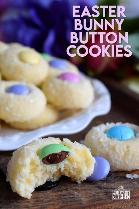 Miniature, one-bite cookies made with pastel candy centers. Easter Bunny Button Cookies are a great Easter gift idea, or just save them all for yourself! #easter #bunny #cookies #candy #chocolate