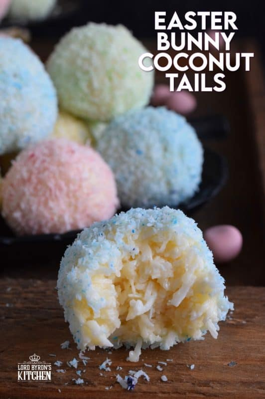 As tasty as they are pretty, Easter Bunny Coconut Tails are a no-bake, easy, kid-friendly recipe! They will love dying the coconut those pastel colours! #easter #bunny #balls #tail #cookies #pastel #nobake