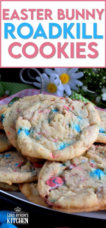 A chewy, malted chocolate egg cookie with crispy edges, this Easter Bunny Roadkill Cookie makes it look like the Easter Bunny has been run over by a truck! #Easter #Bunny #roadkill #cookie #malted #chocolate #balls