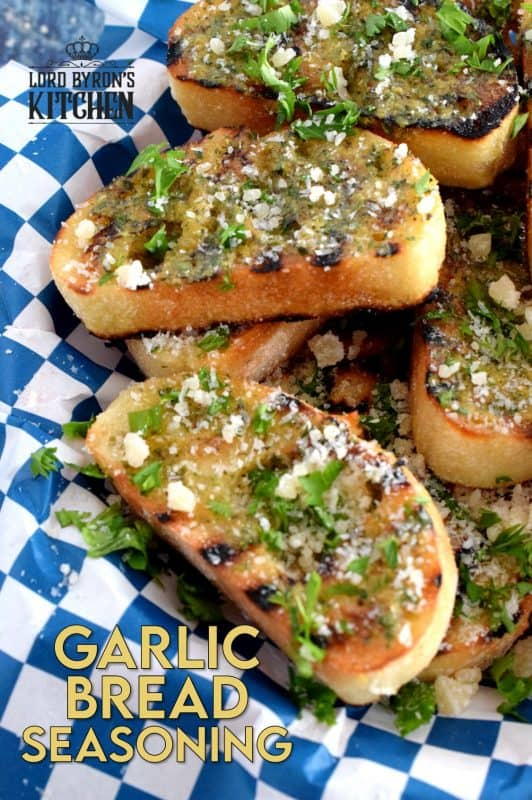 A delicious, garlicky, dry seasoning which makes the best garlic bread in a hurry – sprinkle liberally onto buttered bread and bake. Garlic Bread Seasoning tastes perfectly cheesy even though the seasoning is cheese-free! #garlicbread #vegan #garlicseasoning #garlicbutter #appetizer