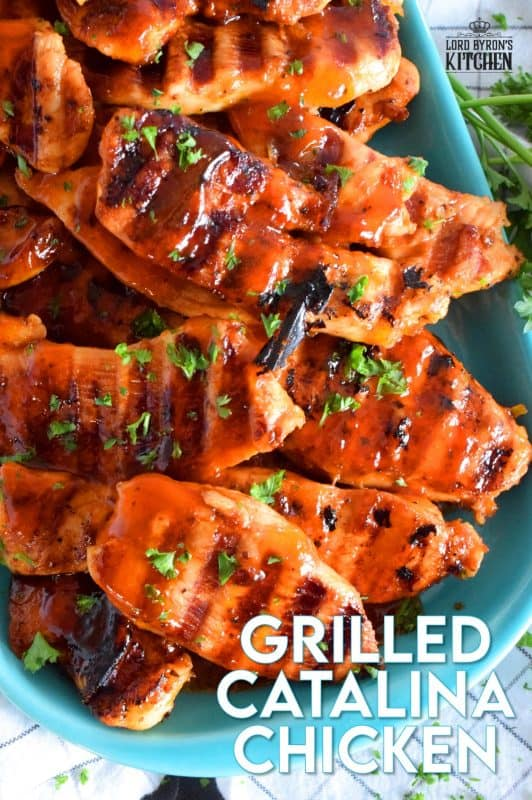 Grilled Catalina Chicken is made by marinating sliced chicken breasts in Catalina Salad Dressing with some additional seasonings. Next, the chicken is grilled to perfection. They're moist, saucy, tangy, and a little bit sweet. #catalina #saladdressing #grilling #grilledchicken #chicken