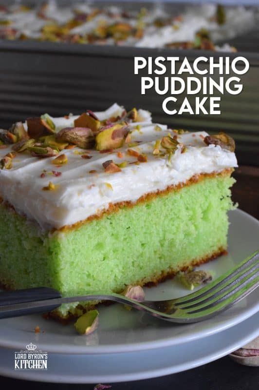 A light and fluffy, yet moist and flavourful Pistachio Pudding Cake topped with cream cheese frosting is perfectly green and festive. This is the ultimate green dessert for St. Patrick's Day! #pistachio #pudding #cake #sheetcake #stpatricksday #greenfood