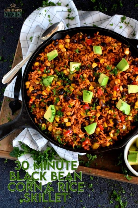 30 Minute Black Bean Corn and Rice Skillet has everything a well-rounded, wholesome meal needs!  This is a perfect family dinner with many serving options. Roll it into a burrito or pile it into a bowl with cheese and sour cream on top! #30minute #blackbean #skillet #onepot #dinner