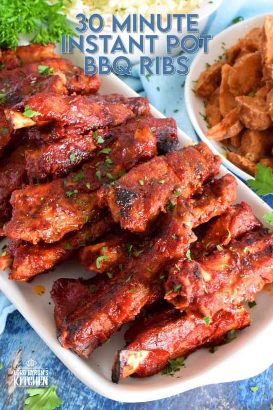 Ribs in 30 Minutes? It's certainly possible with the help of an instant pot! Seasoned ribs are pressure cooked first, and then the sauce is applied before being broiled to perfection. 30 Minute Instant Pot Ribs are fall of the bone tender and moist, and you don't have to wait very long to dig in! #instantpot #30minutemeals #ribs #bbqribs #instantpotrecipes