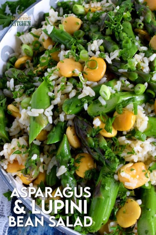 A delicious side salad, yet hearty enough to be a complete meal. Made with asparagus and canned lupini beans, this dish is great served cold or at room temperature! #asparagus #lupini #bean #rice #salad #summer #picnic #backyard