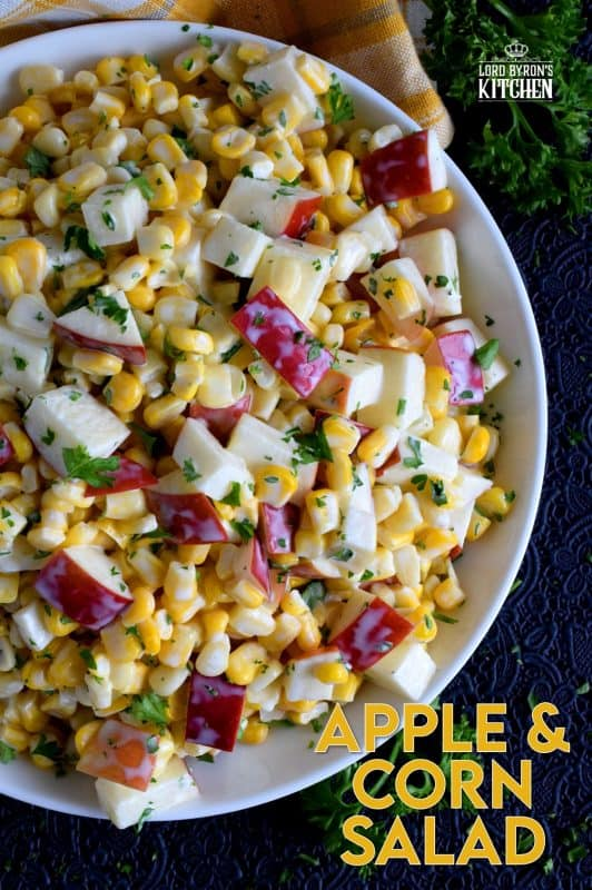 With just a few ingredients, Apple and Corn Salad is one of those great tasting recipes that gives you lots of bang for your buck!  This was oftentimes served with potato salads and chicken for Sunday night supper! #corn #apple #salad #summersalad #cornsalad #applesalad