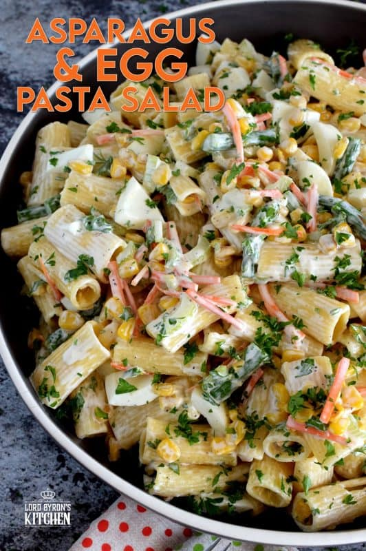 Served cold or at room temperature, Asparagus and Egg Pasta Salad is a dish best served in late spring or early summer when fresh asparagus is readily available. Bring this dish to your next picnic or potluck and you'll surely be the belle of the ball! #asparagus #egg #salad #pasta #fresh #picnic #summer #potluck