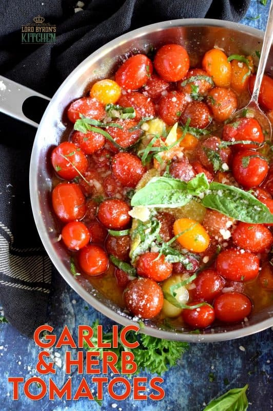 The Barefoot Contessa's Herb and Garlic Tomatoes are the perfect recipe to use up your bounty of summer ripe tomatoes. This is a simple recipe with intense garlic and basil flavour; savour these blistered tomatoes tossed with pasta, or on top of grilled crostini! #barefootcontessa #inagarten #herbandgarlic #tomatoes #summertomatoes