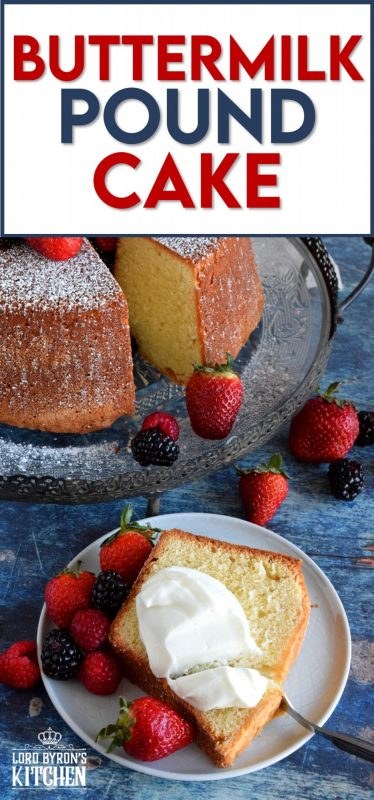 Sometimes, something very simple and non-pretentious can be the most beautiful and the most elegant.  Take for instance, this impressive Buttermilk Pound Cake that needs nothing more than a dusting of sugar, some fresh fruit, and a little whipped cream - perfection! #buttermilk #dessert #pound #cake