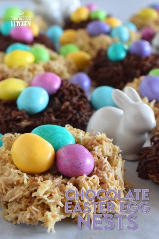 Prepared with healthy shredded wheat, so there's no need to feel guilty about eating the chocolate!  Chocolate Easter Egg Nests are a no-bake confection that takes less than 10 minutes of your time, and are totally fun to make and even more fun to eat.  #nobake #easter #nests #eggs #M&M #candy #cereal