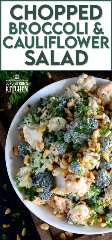Vegetables never tasted so good! Chopped Broccoli and Cauliflower Salad is creamy, cheesy, and crunchy. Bacon tends to be a dominant flavour, so this version has none. This salad is that good! #broccolisalad #choppedsalad #broccoli #cauliflower #meatlessmonday