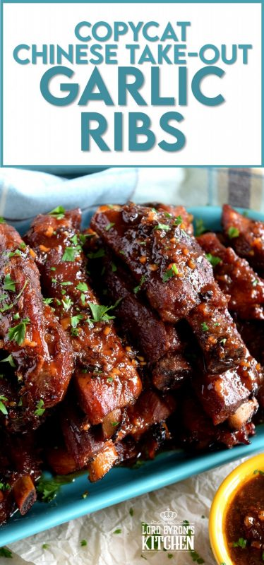 Copycat Chinese Restaurant Dry Garlic Ribs are a nostalgic buffet favourite.  Every 80s and 90s Chinese buffet included these delicious ribs and this is a make-at-home recipe that's better than the original! Get ready, because one taste of these ribs and you'll be transported back in time!! #ribs #dry #garlic #chinese #restaurant #buffet #copycat #recipe